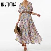 2017 Bohemia Deep V Neck Bird Phoenix Print Dress Women New Fashion Batwing Sleeve Lacing Up
