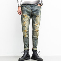 New Biker Jeans Men Ripped Retro Vintage Straight Broken Man Slim Fit Patchwork Cartoon Skull Hip Hop Boy Joggers Balmai Homme