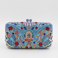 Vintage Women Blue Beaded Clutch Bag Sequined Diamond Handbag Bridal Wedding Party Metal Clutches Purse Minaudiere