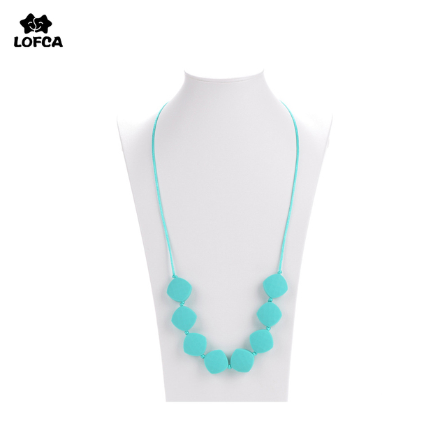 Fashion Jewelry Silicone Necklace BPA Free Silicone Teething Necklace Beads  For Baby Women Soft Chew Toys 48f0b5509