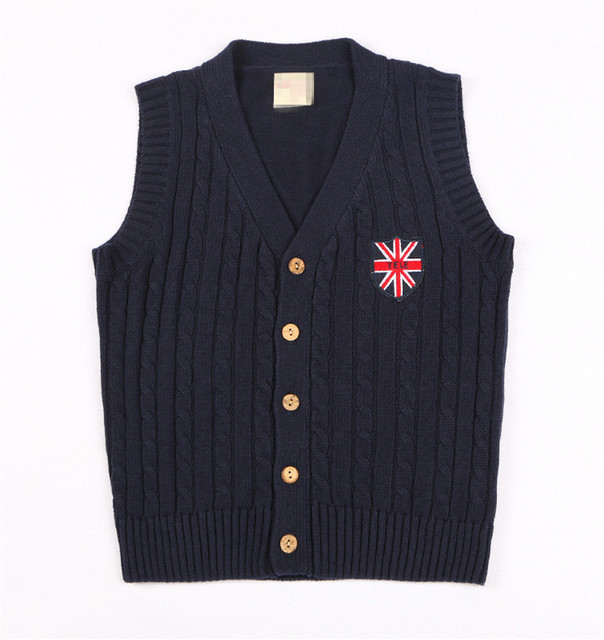 New College Wind 5-12T Kids Knitted Vest V-neck Sleeveless Autumn Spring Children Clothing Boys Girls Knitted Sweater AS-1600-3