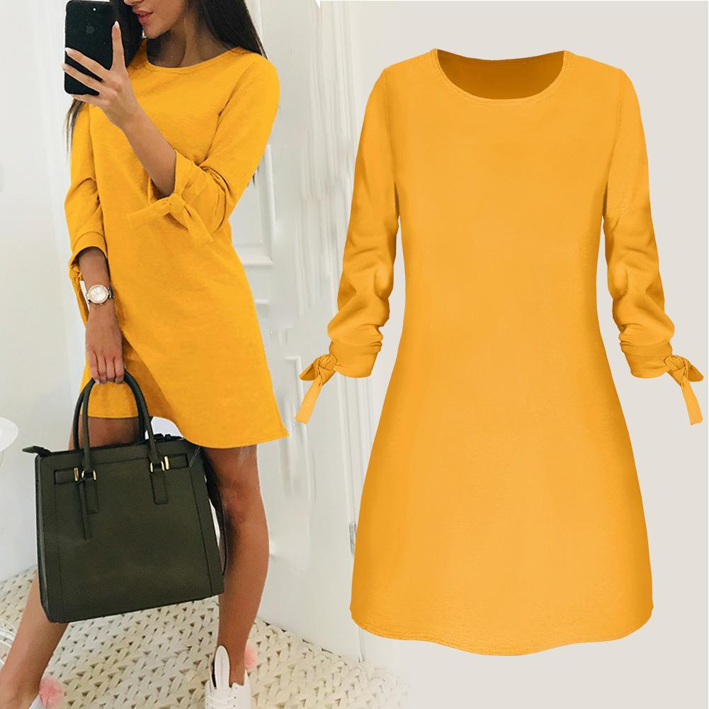 Yfashion Summer Fashion Women Dresses Solid Color Yellow Red Dress Lacing Sleeve Fashion Summer Dresses Mini Office Dress