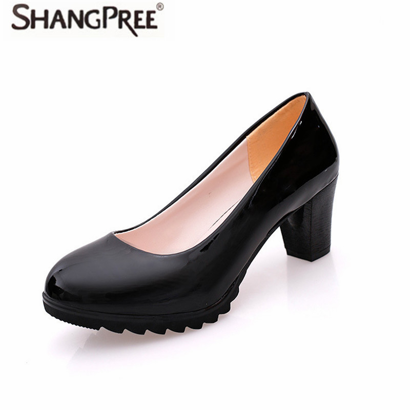Women high heels New Office Career Shoes 6cm High Heel Pumps Comfortable Square Heel Round Toe Shoes PU Shallow mouth high heels burgundy gray saphire blue pink women dress party career work shoes flock shallow mouth stiletto thin high heel pumps