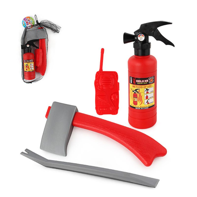 4Pcs/set Children Firefighter Fireman Cosplay Toys Kit Fire Extinguisher Intercom Axe Wrench Gifts For Kids