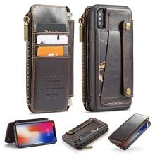 着脱式レザーケースiphone 11プロmax x xr xs最大ジッパーフリップ電話ケースiphone 8 7プラス6 6s、se 2020財布ケース