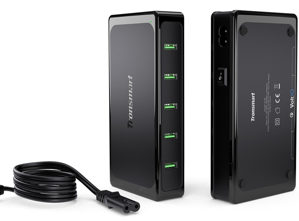 Tronsmart Titan UC5F 5 Ports Quick Charge 2.0 USB Smart Desktop Charger QC2.0 90W Turbo Charge Fast Charging[Qualcomm Certified] 2