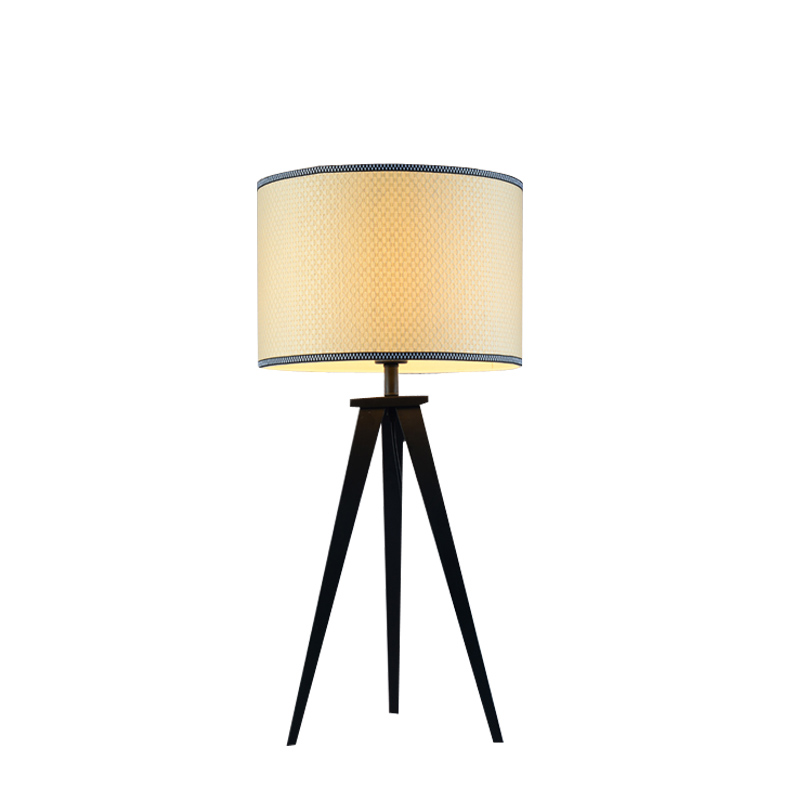Tripod Table Lamp Modern Bedroom Bedside Light Fixtures Black Iron Flaxen Cloth Lampshade Decor Home Lighting E27 110-220V