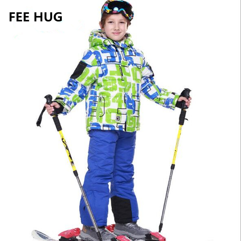 FEE HUG Winter Children Girls Sport Ski Clothes Sets 2017 Snow Ski Suit Baby Boys Kids Clothes Jacket Coat +Ski Pants Sport Suit 2pcs set kids clothes down jacket rompers sport ski suit girls boys clothes toddler baby tracksuit winter children clothing