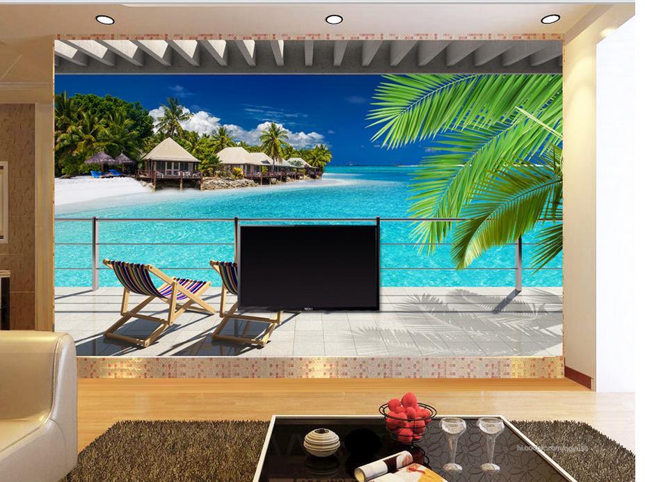 Custom 3 D Photo Wallpaper Wall Murals 3d Wallpaper Beach: 3d Wallpaper Nature Dream Ocean View Balcony Photo