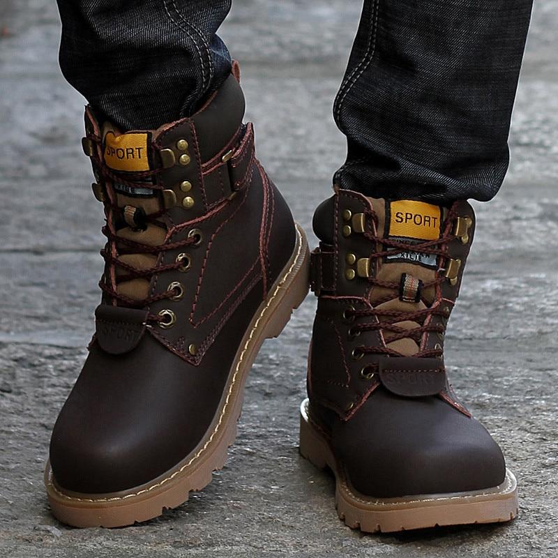 b1d983ea3 كبير حجم 35 46 الشتاء الرجال الأحذية بوط من الجلد الطبيعي الرجال الشتاء  أحذية الرجال العسكرية فراء الأحذية ل حذاء رجالي Zapatos هومبر في كبير حجم  35-46 ...