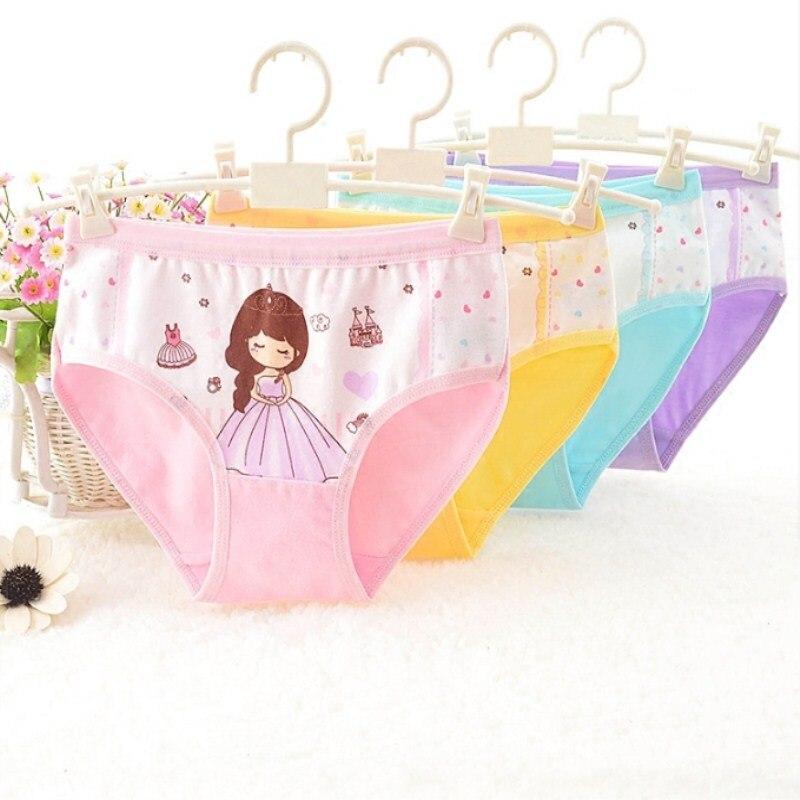 4pcs/lot Children Underwear Girls Cartoon Princess Cotton Underwear Children's Briefs  suit 1-3 years baby