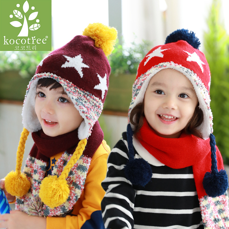 163252aa970 Kocotree Hat baby 2Pcs Warm Set Cute Hat Scarf Baby Girls Boys Acrylic  fibres Winter Cute Cool Fashionable Hats With Scarf