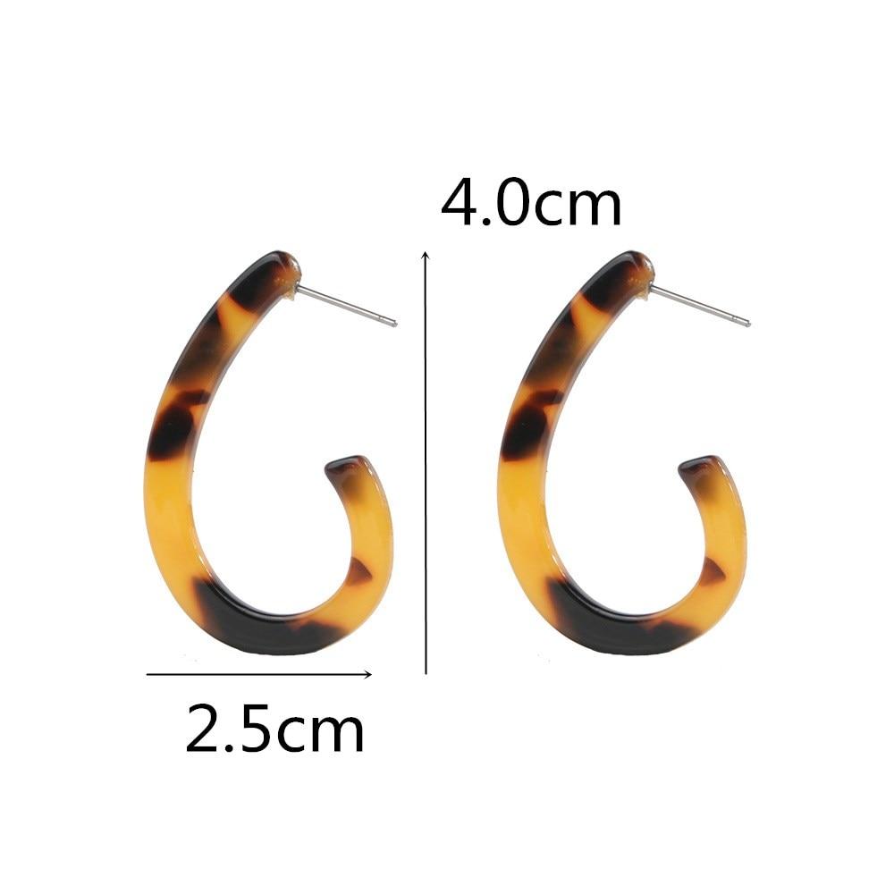Leopard Print Long drop Earrings Resin Acrylic Tortoiseshell Geometric Earring
