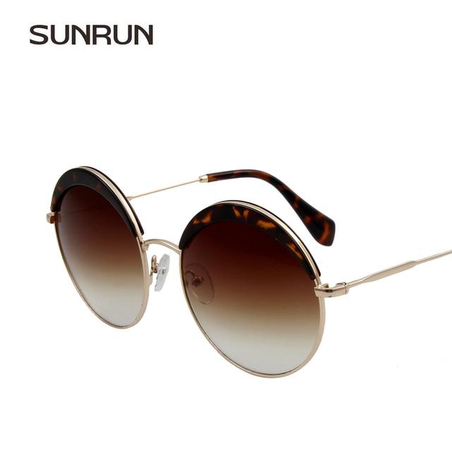 SUNRUN Moda Mujeres gafas de Sol de Diseñador de la Marca Retro Gafas  Redondas de La 4886bd8eecfb