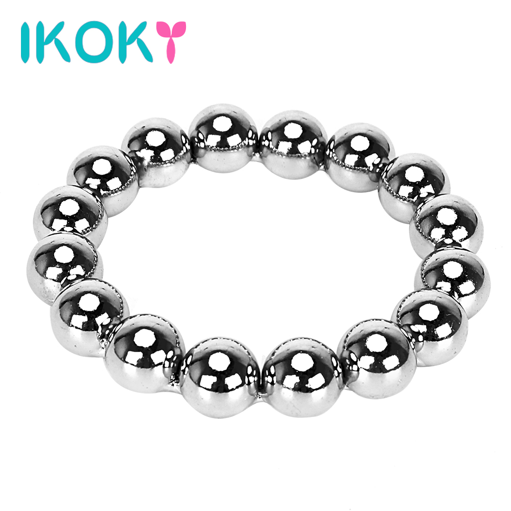 Buy IKOKY Delay Ejaculation Cockrings Sex Toys Men Silver Penis Ring Stainless Steel Adult Production  Metal Cock Ring