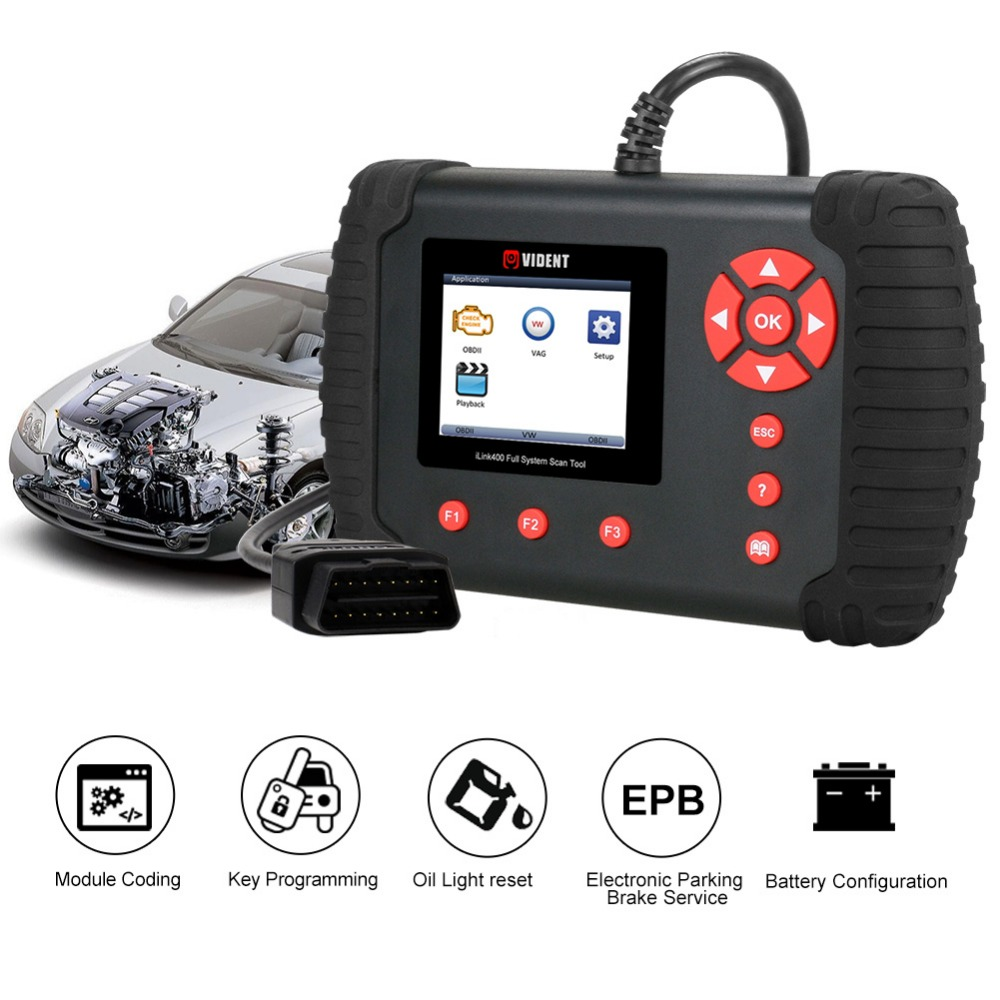 US $153 0 15% OFF|VIDENT iLink400 Automotive Full System Scanner  ABS/SRS/EPB/Transmission Diagnostic tool DPF Regeneration,Oil Reset Update  Online on