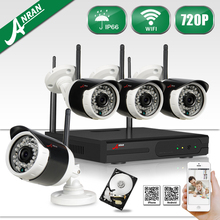 ANRAN HD 4CH Wifi NVR 720P CCTV System Waterproof Outdoor Night Vision Security Video Surveillance Kit+1TB HDD Selectable
