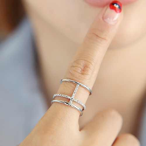 Korean Style Fashion 925 Sterling Silver Crystal Multilayer Rings For Women Adjustable Size Wedding Ring