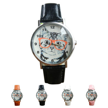 High Quality Durable Women Female Cat Pattern Leather Band Analog Quartz Vogue Wrist Watches Relogio Feminino Big Discount
