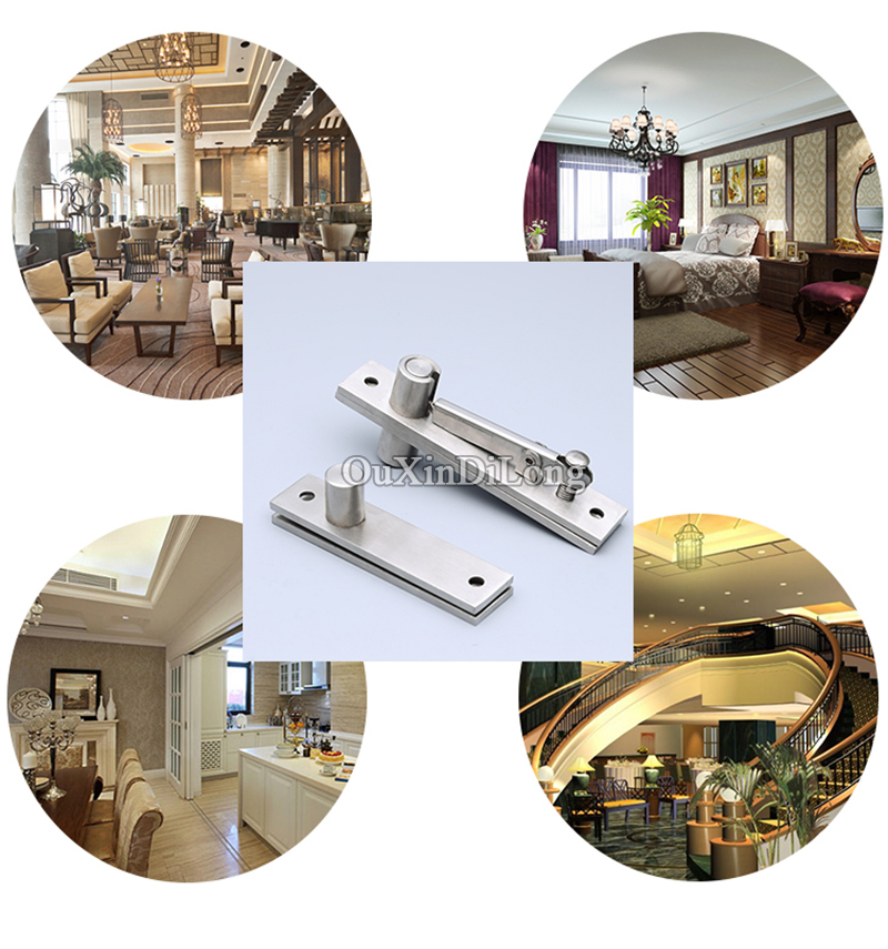 Купить с кэшбэком High Quality 2Sets 304 Stainless Steel Heavy Duty Door Pivot Hinges 360 Degree Rotation Hidden Door Hinges Install Up and Down