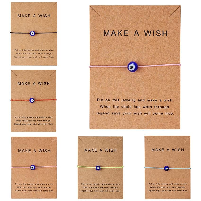 Rinhoo faire un souhait bleu mauvais œil tissé papier carte Bracelet femmes réglable chanceux rouge chaîne Bracelets Femme nouveau bijoux de mode