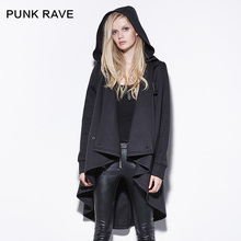 Punk rave Personalized Asymmetrical Medium-long with a Hood Sweatshirt Outerwear Female