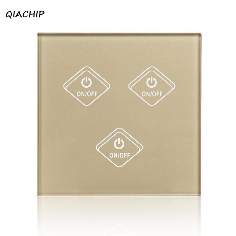 UK Plug WiFi Smart 3 Gang Light Wall Switch Gold Crystal Tempered Glass Panel Touch Screen APP Control Work with Amazon Alexa
