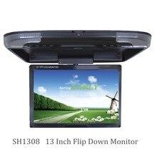 Горячая Распродажа 13 дюймов Автомобильный потолочный монитор DC 12V 2-полосная видео входов флип-монитор светодиодный цифровой экран бежевый/серый/черный SH1308