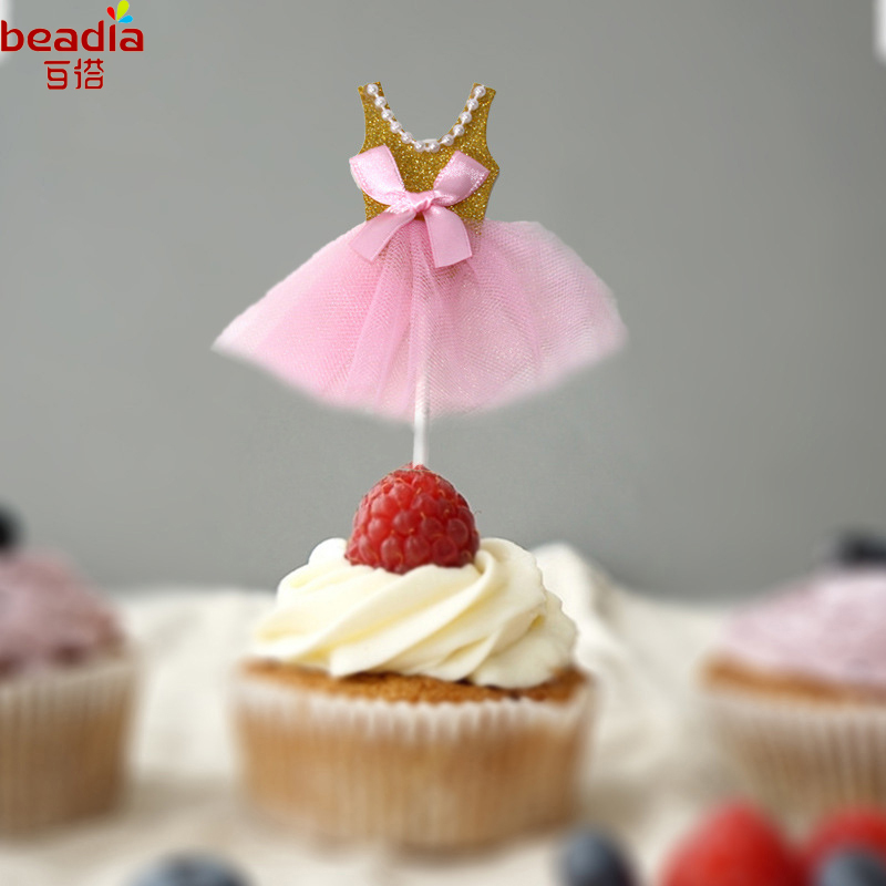 US $1.92 32% OFF Hot Selling 5pcs/bag Cake Decoration Supplies Wholesale  Sweet Princess Yarn Skirt Shape Insert For DIY Birthday Party Wedding-in  Cake ...