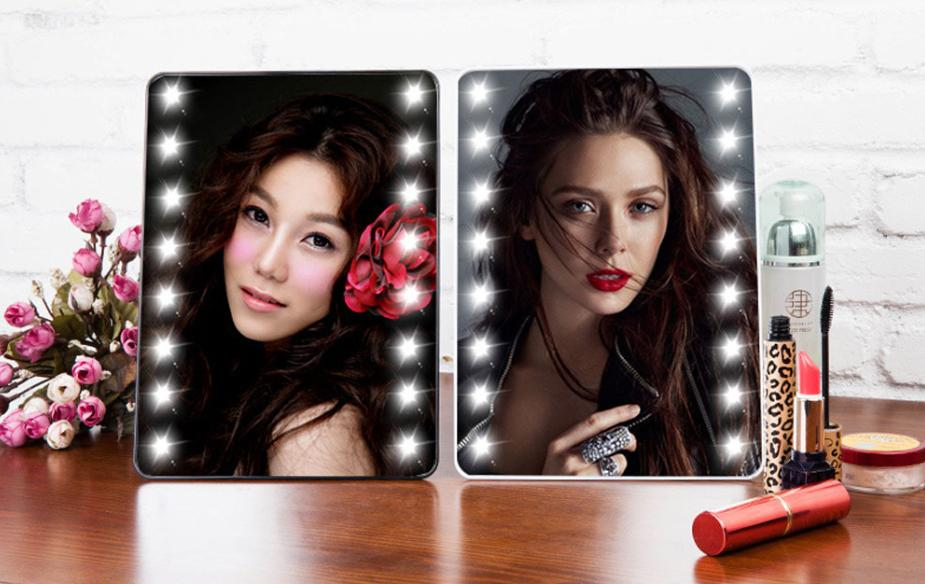 Adjustable Vanity Tabletop Countertop Mirror Makeup Cosmetic Mirror 16 LEDs Lighted Portable with Touch Screen Makeup Tool