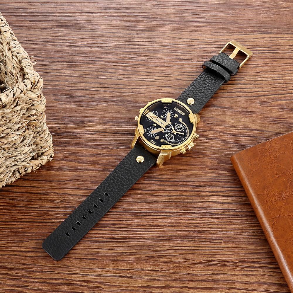 luxury brand cagarny quartz watch for men watches golden case dual time zones dz style watches (9)