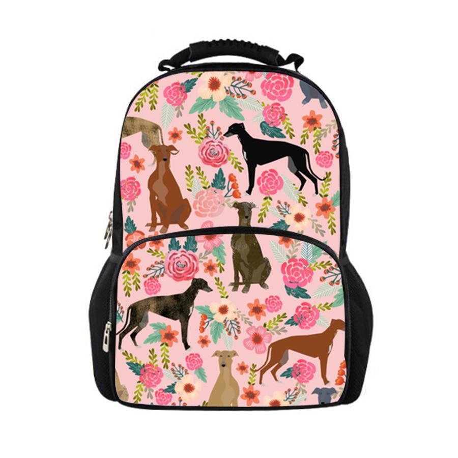 3D 2019 filles sac floral chiens impression sac à dos enfants cartables étudiant sac d'école pour adolescent femmes sacs décontractés-in Sacs à dos from Baggages et sacs    1
