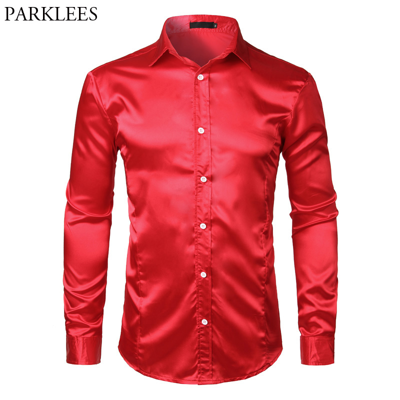 Men's Slim Fit Silk Satin Dress Shirts Wedding Groom Stage Prom Shirt Men Long Sleeve Button Down Shirt Male Chemise Homme Red