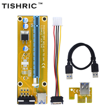 TISHRIC 2017 New VER006 Yellow PCI Express Riser Card USB 3.0 PCI-E extender 30cm 1x to 16x 4Pin Molex Power BTC Miner Machine