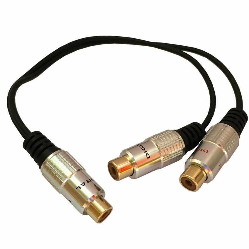 Cao cấp RCA Video Âm Thanh Y-Bộ chia Cáp 1 đầu Cái sang 2 RCA Nữ 25 cm Mạ Vàng