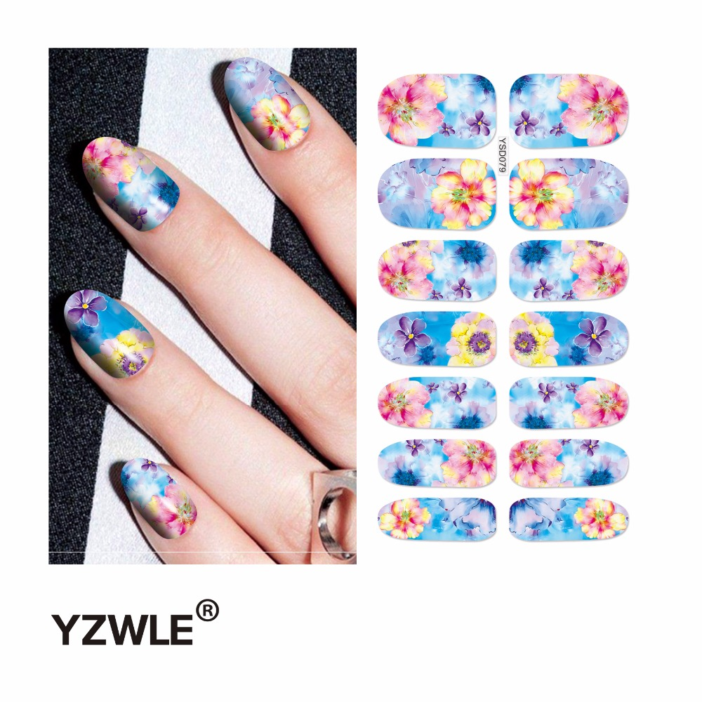 91cfd0ac57 Yzwle 1 Sábanas transferencia de agua Clavos arte pegatina manicura  decoración de la herramienta de cubierta nail envoltura calcomanía (YSD079)