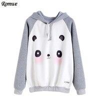ROMWE Women Casual Hoodies Pullover Cute Sweatshirts Contrast Cartoon Panda Print Raglan Sleeve Hooded Sweatshirt