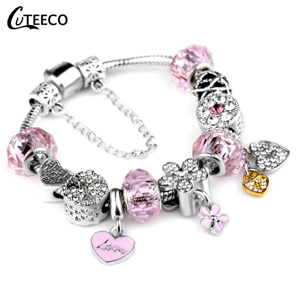 CUTEECO Fashion Pink Cute Charm Bracelets For Women Heart Beads Fit Original Brand Bracelets Bangles Romantic Jewelry Gift
