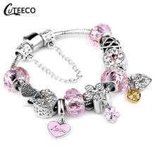 CUTEECO Fashion Pink Cute Charm Bracelets For Women Heart Beads Fit Original Brand Bangles Romantic Jewelry Gift