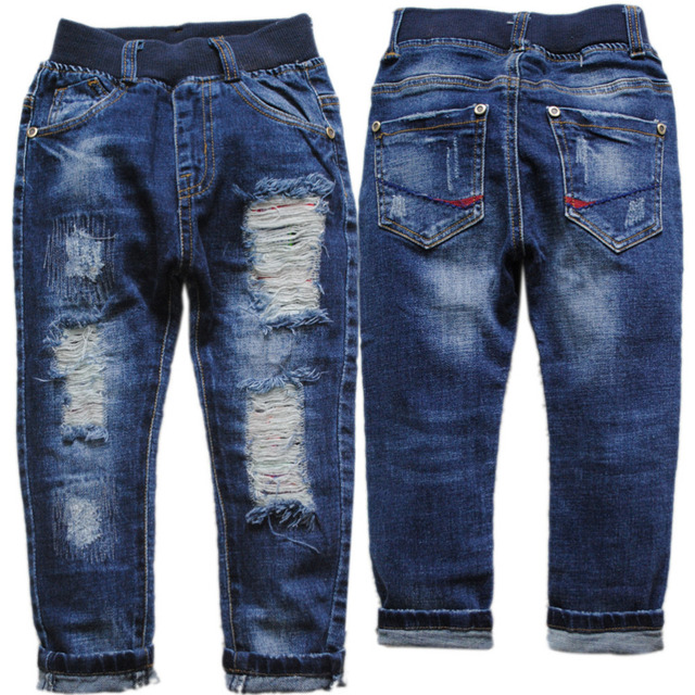 3971 KIDS JEANS BOYS children's clothing  casual  denim hole pants boys jeans fashion  navy  blue  spring&autumn nice new