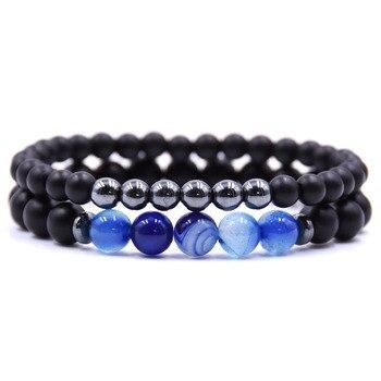 Bracelet couple à distance bleu foncé