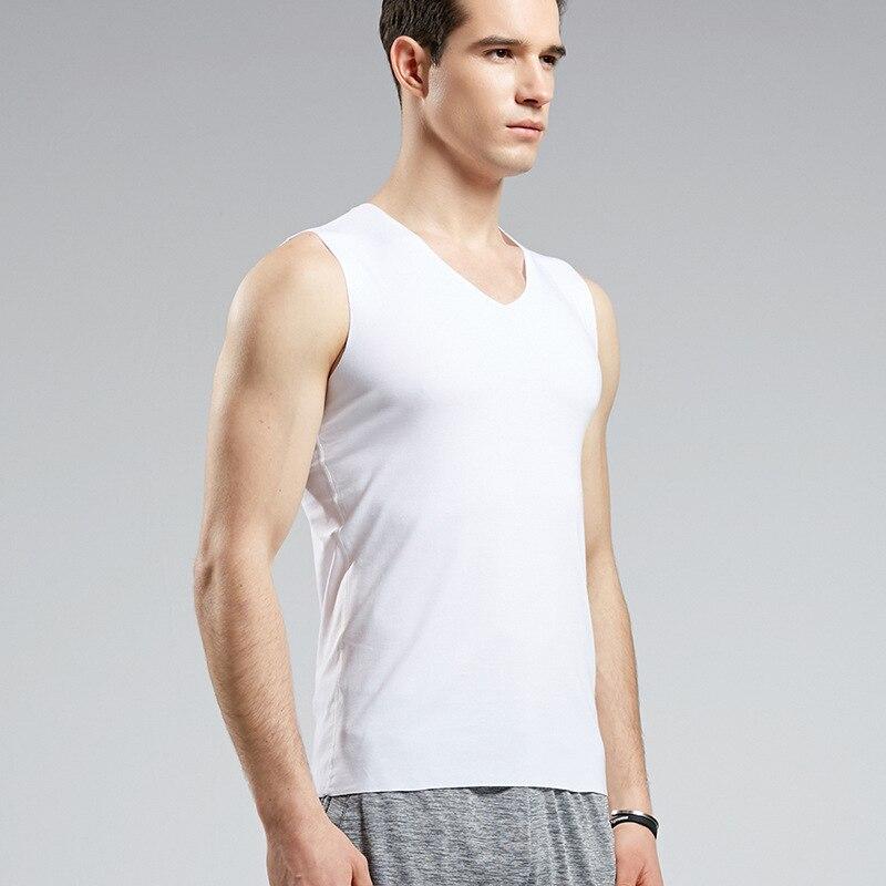 Бесшовный жилет для мужчин, летняя Однотонная футболка с треугольным вырезом, 1326
