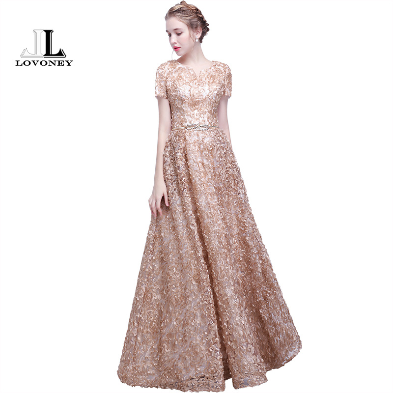 LOVONEY YS405 New Arrival Long   Prom     Dresses   2018 Short Sleeves Floor Length Formal   Dress   Women Occasion Party   Dresses   V Neck