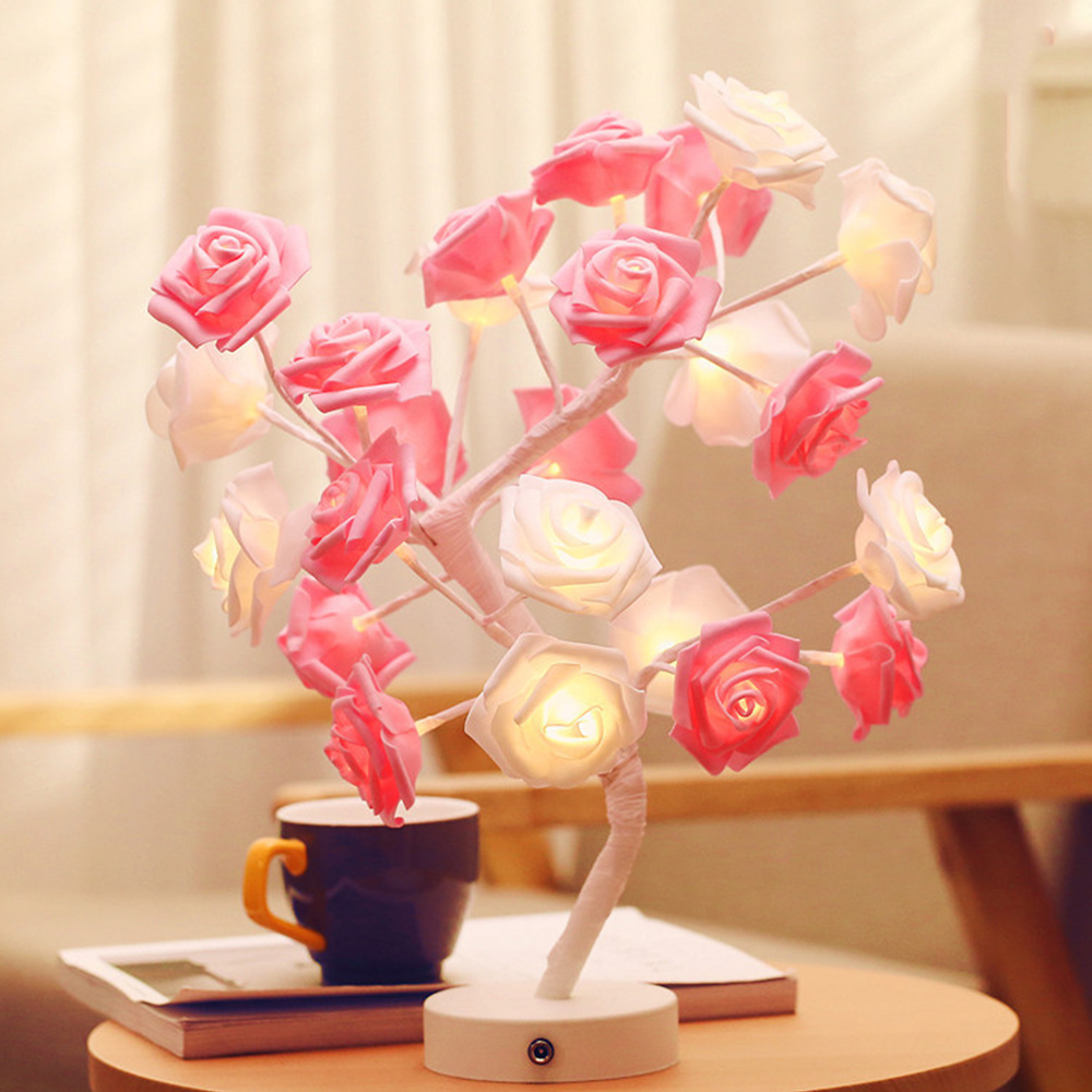 2018 New LED Table Lamp Night Lighs Desk Flower Rose Tree For Home Party Coffee Decoration tree print table cover