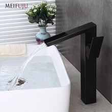 Waterfall Tall Bathroom Faucet Oil Rubbed Bronze Black Basin Faucet Bathroom Faucets Sink Water Mixer Tap Brushed Nickel Finish стоимость