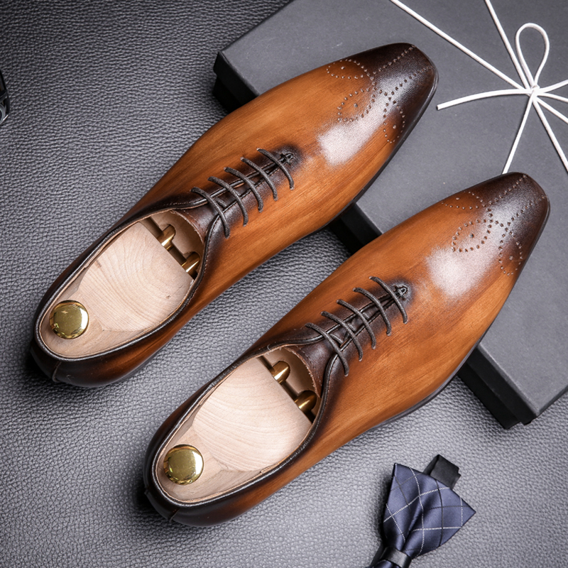 Mens Formal Shoes Leather Oxford Shoes For Men Dressing Wedding Men's Brogues Office Shoes Lace Up Male Zapatos De Hombre