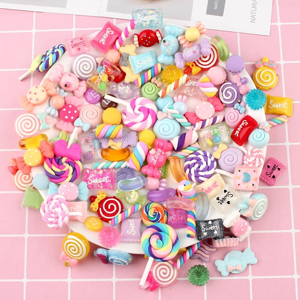 100 pcs/Bag Mixed Harz Schleim Candy Sweets Flatback Glück Tasche Spielzeug DIY Perlen Scrapbooking Handwerk Pretend Spielen Lebensmittel spielzeug