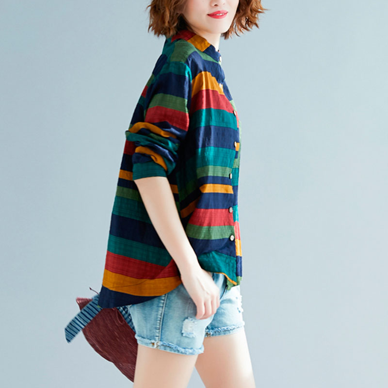 Women Multicolor Striped Shirt Casual Long Sleeve Button Blouse Plus Size Casual Women spring Summer Elegant Cotton Top 3