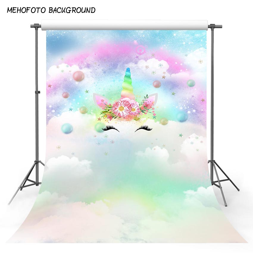 Photography backdrop Unicorn Party Rainbow Star Decor Birthday baby shower Photo Background Custom Backdrop photo Studio oxford oil painting park photography backdrop printed children baby party backgrounds for photo studio