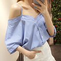2016 Spring Autumn Women sexy stripes bat sleeve loose Blouse Top Off Shoulder strap shirt JN291